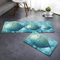 北欧卫生间圆形地毯卧室浴室厨房吸水地垫进门口入门垫防滑脚垫子 大鱼小房子地垫