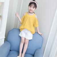 女童夏装新款套装韩版儿童装露肩两件套洋气时髦夏季潮