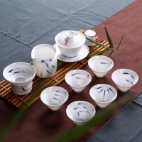 青花瓷茶具套装手绘茶杯茶洗茶海陶瓷功夫茶具礼盒组合套装