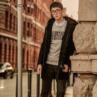【2件2.5到手价:141.5】MECITY男装秋冬连帽中长款加绒保暖羊毛大衣外套