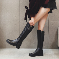 欧美2018新款冬季长筒靴女靴子英伦风粗跟厚底中筒长靴高筒靴马靴SN2977 黑色 皮里