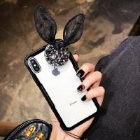 网红苹果X手机壳女挂绳iPhone8plus个性创意6s韩国7p透明水钻 iphone X 黑色