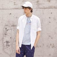 【1件2折到手价:25.2】美特斯邦威衬衫男夏装新款青少年个性基本复古棉麻中短袖衬衫学生