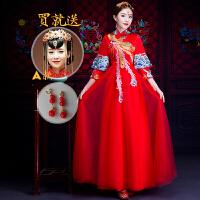 复古红色婚服女秀禾服新娘孕妇中国风敬酒服旗袍结婚中式婚纱礼服yly XX