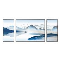 新中式装饰画山水画壁挂画客厅沙发背景墙风景水墨禅意中国风三联