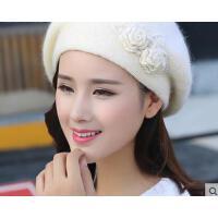 新款韩版潮百搭双层保暖针织帽休闲兔毛线帽贝雷帽子女