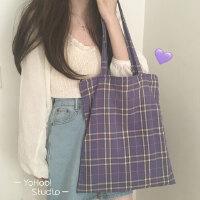 YOHOO!/chic韩系购物袋书包女~颜色很美的香芋紫/格子单肩帆布包
