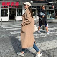【1件3折777元】韩都衣舍2019韩版女装冬装新款气质双面呢中长款毛呢外套EK9143囡