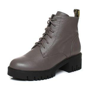Teenmix/天美意2017冬牛皮字母织带简约方跟马丁靴女靴15201DD7