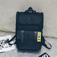 港风双肩包日式简约男士书包女学生韩版校园大容量旅行电脑背包潮 黑色