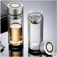 水杯水瓶双层玻璃杯便携创意泡茶杯加厚水晶底带盖过滤水杯男女士茶杯子