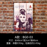 复古工业风木板画个性创意墙上酒吧奶茶店墙壁理发店墙面装饰挂件 桔红色 奥黛丽赫本