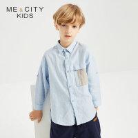 【1件2折到手价:53.8】米喜迪mecity童装秋新款男童落肩长款胸带撞色长袖衬衫