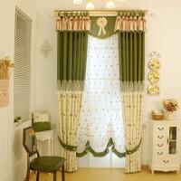 成品韩式田园风格客厅卧室绣花绿色清新窗帘拼接儿童房飘窗帘 绿色