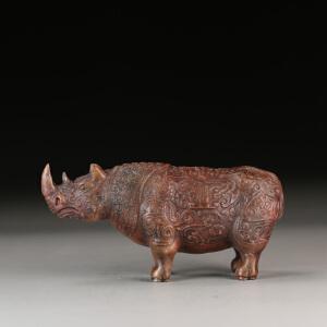 寿山老性芙蓉石 精雕奇特犀牛摆件 收藏佳品 p4185