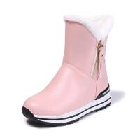 韩版2018秋冬季加厚绒女童雪地靴短靴女小女孩公主鞋女童靴子童鞋软底