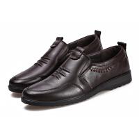 男士真皮皮鞋休闲舒适软底透气套脚冬秋秋中老年男士舒适单鞋真皮 705黑色 标准尺码,送棉袜