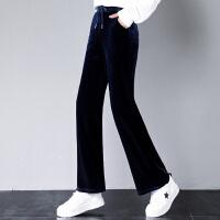 阔腿裤女秋季新款休闲金丝绒高腰宽松拖地直筒裤显瘦垂感长裤
