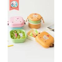 儿童餐具双层水果保鲜盒便携可爱卡通便当盒学生小号迷你宝宝饭盒