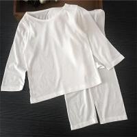 婴儿睡衣薄款宝宝内衣套装夏季竹纤维儿童空调服男童女童 白色