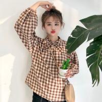 2018春装女装学生新款韩版chic小清新蝴蝶结格子衬衣学生长袖上衣