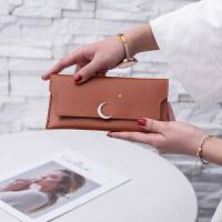 长款三折女士钱包2018新款星星月亮薄款日韩版小清新款式钱夹手包