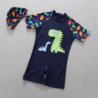 韩国防晒儿童泳衣男童恐龙连体男孩小童泳装带帽温泉游泳衣潮 深蓝色