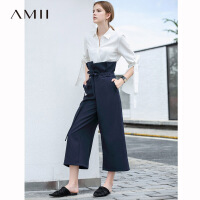【到手价:169元】Amii极简法式休闲九分裤空气裤子2019夏季新款高腰配腰带阔腿裤女