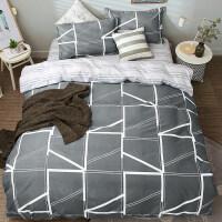 四件套全棉纯棉简约1.8m米床上用品学生宿舍床单被套三件套