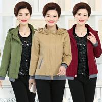 春秋款中老年女装外套短款修身显瘦纯色妈妈装连帽风衣中年女夹克