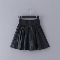 710 女�b 冬季新款百搭�色修身高腰女式PU皮裙半身裙短裙子