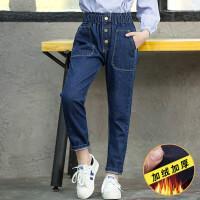 女童牛仔裤秋冬新款12-15岁女孩中大童冬装加绒加厚长裤外穿裤子