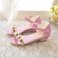 韩版夏天儿童凉鞋小公主鞋小女孩水晶高跟鞋牛筋底鱼嘴鞋
