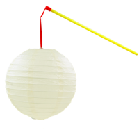 儿童手提发光纸灯笼幼儿园舞蹈道具2018新年闹元宵节挂饰摄影拍照 米白色 杆子+LED灯+灯笼