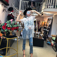套装女夏2018韩版新款时尚流苏蕾丝上衣+破洞不规则牛仔裤潮