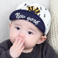 新生婴儿帽子秋太阳帽棒球帽男女遮阳帽儿童防晒宝宝帽5448 印花