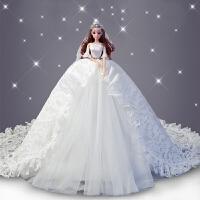 穿婚纱的芭比娃娃公主单个超大拖尾90厘米婚纱女孩生日情人节礼物 下单送90厘米超大头纱 48厘米