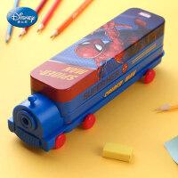 迪士尼文具盒男小学生女多功能铁笔盒幼儿园带笔削小汽车巴士儿童铅笔袋创意个性大容量双层火车头铅笔盒