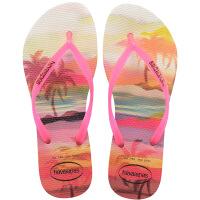 havaianas女款时尚细带人字拖Slim Paisage平底防滑哈瓦那拖鞋橙色0121