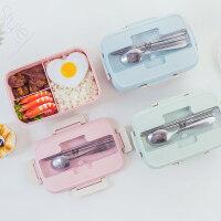 食堂分格便当盒带盖创意可爱餐盒套装保温饭盒学生女