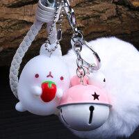 韩国兔子钥匙扣 可爱女士包包挂件情侣车钥匙链 创意汽车腰挂摆件