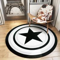 美式圆形地毯美国队长盾牌毯客厅茶几地垫电脑椅垫卧室床边毯 黑白美国队长