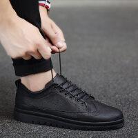 秋季新款鞋子男英伦皮鞋男士休闲鞋韩版潮流板鞋保暖棉鞋冬季