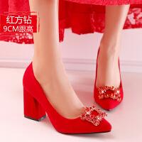 结婚鞋子中式婚鞋女2018新款红色高跟鞋粗跟新娘鞋中跟敬酒秀禾鞋 红色 9厘米方扣