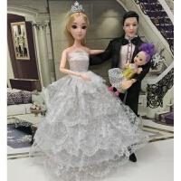婚纱摆件芭比娃娃一对套装新娘新郎公主和王子男情侣婚礼结婚礼物