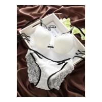 日系W杯白色蕾丝镂空美背少女内衣薄款性感聚拢内衣文胸套装