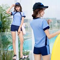 游泳衣女保守分体平角裤运动型韩国泳装学生泳衣女温泉加大码