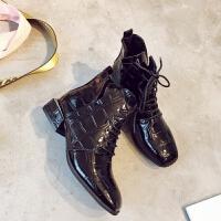 2018秋冬加绒ins英伦方头复古马丁靴韩版粗跟短靴网红时尚女士靴