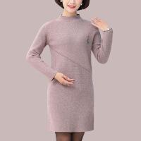 №【2019新款】冬天妈妈穿的装毛衣加厚中长款羊毛衫上衣中老年女装大码纯色连衣裙