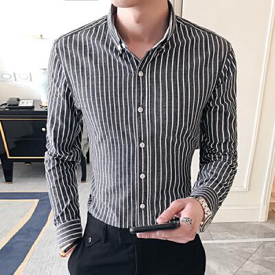 春季新款潮流男装条纹小方领休闲商务衬衫韩版衬衣42